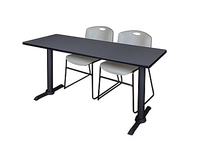 Regency 66-inch Metal & Wood Rectangular Training Table with Zeng Stack Chairs, Gray