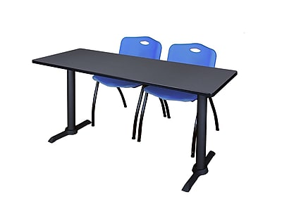 Regency Cain 66'' Rectangular Training Table and Chairs, Gray w/ M Chairs (MTRCT6624GY47BE)