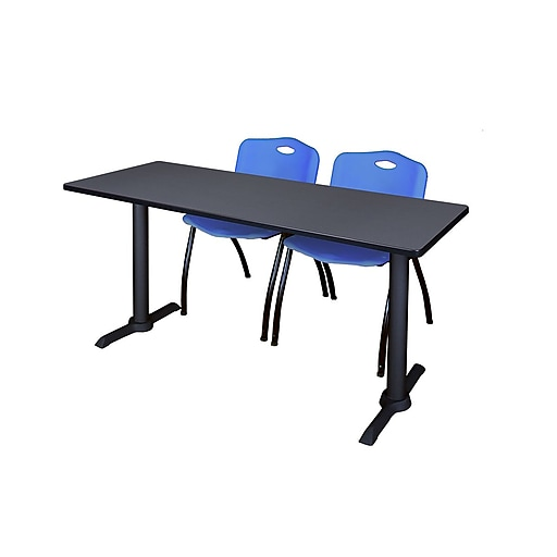 """Regency Cain 66"""" x 24"""" Training Table, Gray and 2 'M' Stack Chairs, Blue (MTRCT6624GY47BE)"""