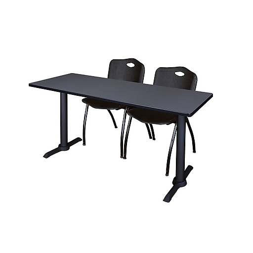 Regency 66-inch Metal & Wood Training Table with Mario Stack Chairs, Black