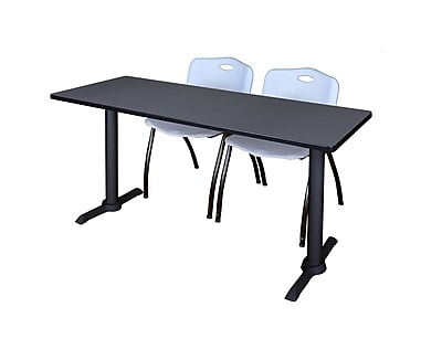Regency 66-inch Metal & Wood Training Table with Mario Stack Chairs, Gray