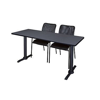 Regency Cain 66'' Rectangular Training Table and Chairs, Gray with Mario Chairs (MTRCT6624GY75BK)