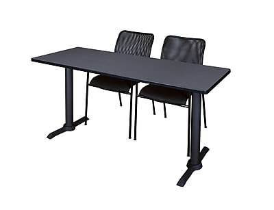 Regency Cain 66'' Rectangular Training Table and Chairs, Gray w/ Mario Chairs (MTRCT6624GY75BK)