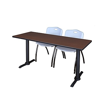 Regency Metal & Wood Cain Rectangular Maple Training Table with Stack Chairs