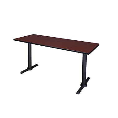 Regency 66-inch Metal & Wood Cain Computer Table, Mahogany