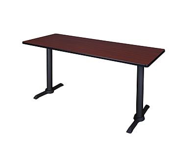 Regency 66-inch Metal & Wood Cain Computer Table, Mahogany