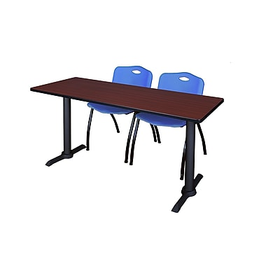 Regency 66-inch Laminate & Metal Training Table with Mario Stack Chairs, Blue
