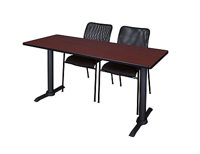 Regency 66'' Rectangular Training Table and Chairs, Woodtone w/Mario Chairs (MTRCT6624MH75BK)