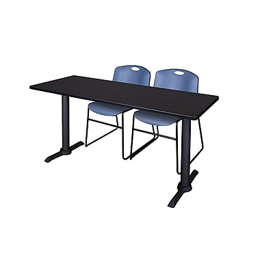 Regency 66'' Rectangular Training Table and Chairs, Woodtone with Zeng Chairs (MTRCT6624MW44BE)