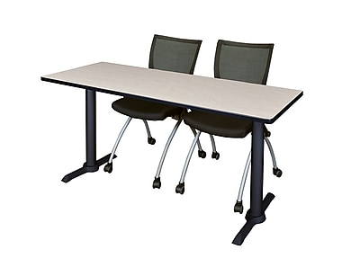 Regency 66-inch Metal & Wood Cain Training Table with Apprentice Chairs, Maple