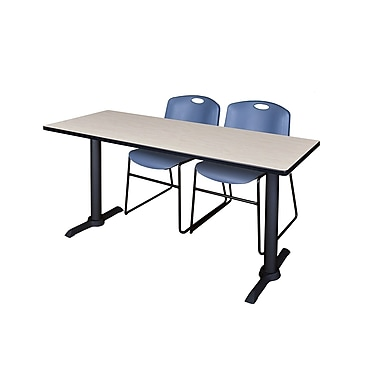 Regency Cain 66'' Rectangular Training Table and Chairs, Maple with Zeng Chairs (MTRCT6624PL44BE)