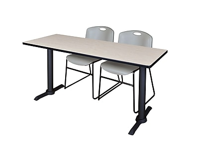 Regency Cain 66'' Rectangular Training Table and Chairs, Maple w/ Zeng Chairs (MTRCT6624PL44GY)