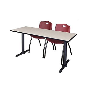 Regency Cain 66'' Rectangular Training Table and Chairs, Maple w/ Stack Chairs (MTRCT6624PL47BY)