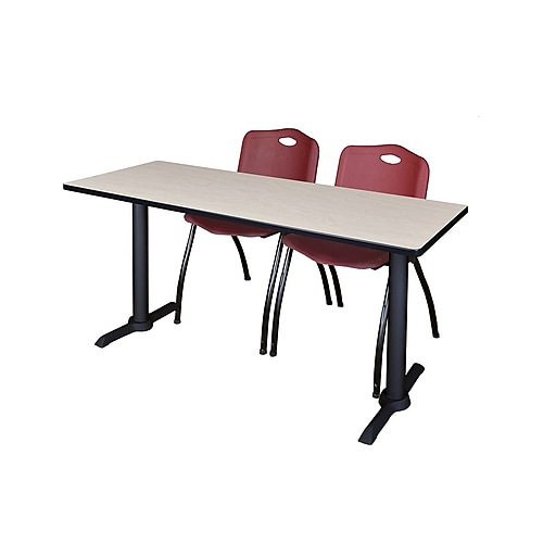 Regency 66-inch Metal & Wood Cain Rectangular Maple Training Table with Stack Chairs, Burgundy