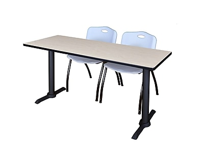 Regency 66-inch Metal & Wood Cain Rectangular Maple Training Table with Stack Chairs, Gray