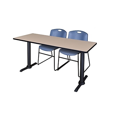 Regency 72'' Rectangular Training Table and Chairs, Woodtone with Zeng Chairs, Blue (MTRCT7224BE44BE)
