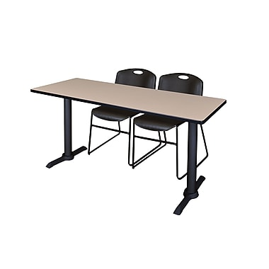 Regency 72'' Rectangular Training Table and Chairs, Woodtone w/ Stack Chairs (MTRCT7224BE44BK)