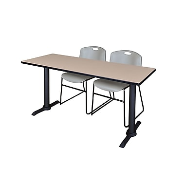 Regency 72'' Rectangular Training Table and Chairs, Woodtone w/ Zeng Chairs (MTRCT7224BE44GY)