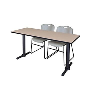Regency – Table de formation rectangulaire, 72 po, ton de bois, avec chaises grises Zeng (MTRCT7224BE44GY)