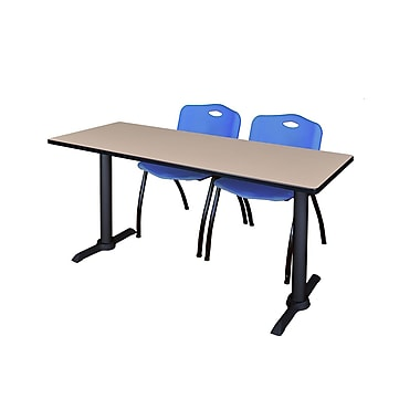 Regency Cain 72'' Rectangular Training Table and Chairs, Woodtone with Stack Chairs (MTRCT7224BE47BE)