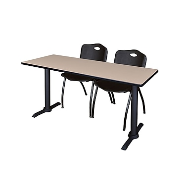 Regency Cain 72'' Rectangular Training Table and Chairs, Woodtone with Stack Chairs (MTRCT7224BE47BK)