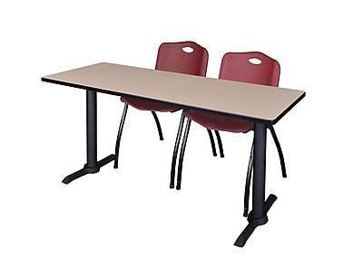 Regency Cain 72'' Rectangular Training Table and Chairs, Woodtone w/ Stack Chairs (MTRCT7224BE47BY)
