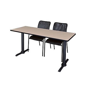 Regency 72'' Rectangular Training Table and Chairs, Woodtone with Mario Chairs (MTRCT7224BE75BK)