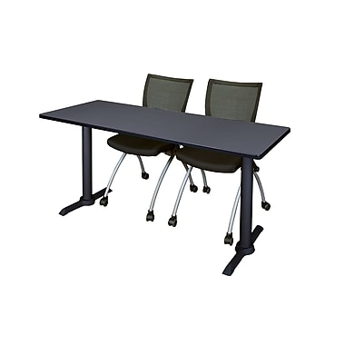 Regency 72-inch Metal & Wood Cain Rectangular Training Table with Apprentice Chairs, Gray