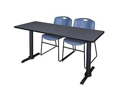Regency Cain 72'' Rectangular Training Table and Chairs, Woodtone w/ Stack Chairs (MTRCT7224GY44BE)