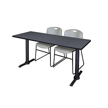 Regency Cain 72'' Rectangular Training Table and Chairs, Gray with Stack Chairs (MTRCT7224GY44GY)