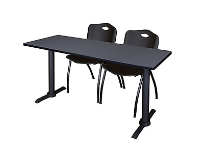 Regency 72-inch Metal & Wood Cain Computer Table with Stack Chairs, Black