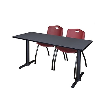Regency Cain 72'' Rectangular Training Table and Chairs, Woodtone with Stack Chairs (MTRCT7224GY47BY)