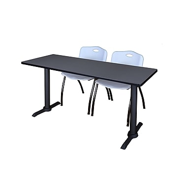 Regency Cain 72'' Rectangular Training Table and Chairs, Woodtone with Mario Chairs (MTRCT7224GY47GY)