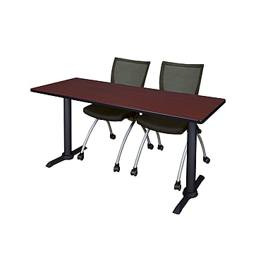 Regency Cain 72'' Rectangular Training Table and Chairs, Mahogany with Apprentice Chairs (MTRCT7224MH09BK)
