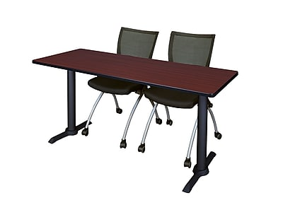 Regency 72-inch Metal & Wood Cain Rectangular Training Table with Apprentice Chairs, Mahogany