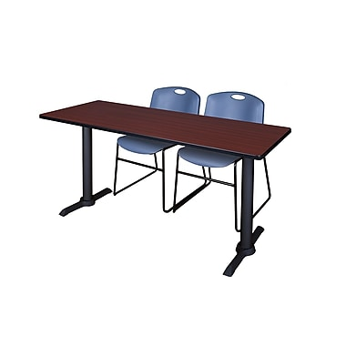 Regency Cain 72'' Rectangular Training Table and Chairs, Mahogany w/ Stack Chairs (MTRCT7224MH44BE)
