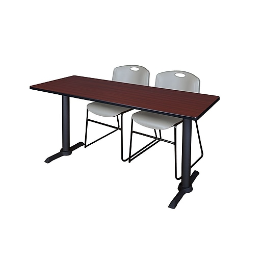 """Regency Cain 72""""x24"""" Mahogany Training Table w/2 Zeng Grey Stack Chairs (MTRCT7224MH44GY)"""