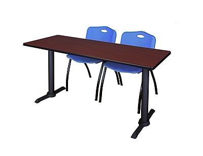 Regency Cain 72'' Rectangular Training Table and Chairs, Mahogany w/ Stack Chairs (MTRCT7224MH47BE)