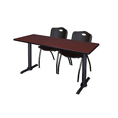 Regency Cain 72'' Rectangular Training Table and Chairs, Mahogany with Stack Chairs (MTRCT7224MH47BK)