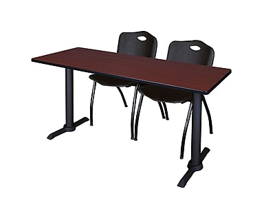 Regency Cain 72'' Rectangular Training Table and Chairs, Mahogany w/ Stack Chairs (MTRCT7224MH47BK)