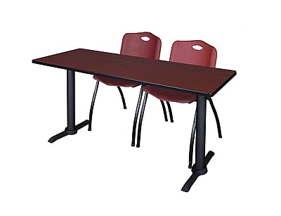 Regency 72'' Rectangular Training Table and Chairs, Mahogany w/ Stack Chairs (MTRCT7224MH47BY)