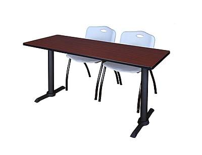 Regency Cain 72'' Rectangular Training Table and Chairs, Mahogany w/ M Chairs (MTRCT7224MH47GY)