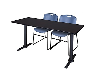 Regency 72-inch Metal & Wood Cain Mocha Walnut Training Table with Zeng Stack Chairs, Blue