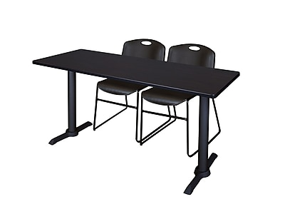 Regency 72-inch Metal & Wood Cain Mocha Walnut Training Table with Zeng Stack Chairs, Black