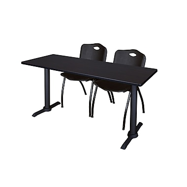 Regency Cain 72'' Rectangular Training Table and Chairs, Woodtone with Mario Chairs (MTRCT7224MW47BK)