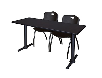 Regency 72-inch Metal & Wood Cain Computer Table with Mario Stack Chairs, Black