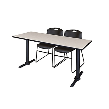 Regency Cain 72'' Rectangular Training Table and Chairs, Maple with Stack Chairs (MTRCT7224PL44BK)