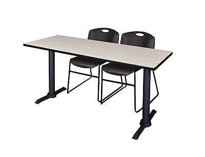 Regency 72-inch Metal & Wood Cain Computer Table Maple with Stack Chairs, Black