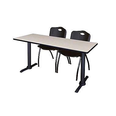 Regency Cain 72'' Rectangular Training Table and Chairs, Maple with Stack Chairs (MTRCT7224PL47BK)