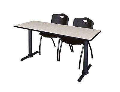 Regency Cain 72'' Rectangular Training Table and Chairs, Maple w/ Stack Chairs (MTRCT7224PL47BK)